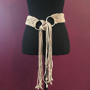 Vintage Look Tan Suede Braided Fringe Belt